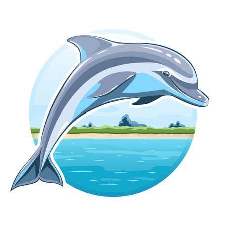 Dolphin on sea background Vettoriali