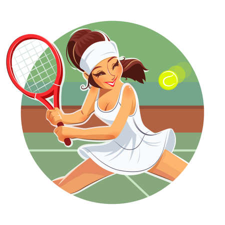 females: Beautiful girl play tennis. Eps10 vector illustration. Isolated on white background