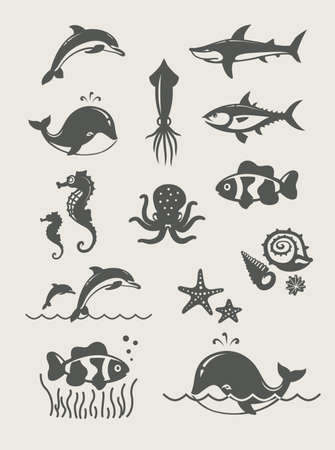 dolphin fish: Ocean and sea fishes.Set of simple icons Eps8 vector illustration