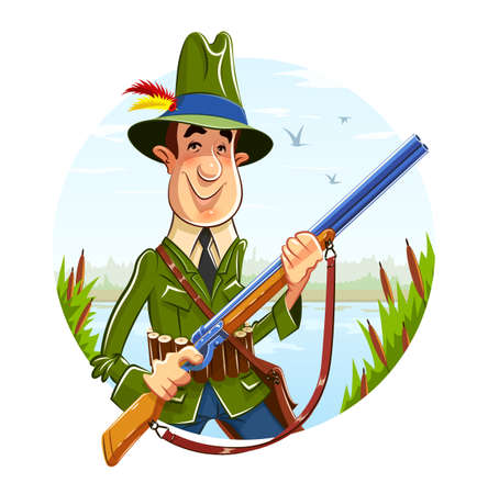 Hunter man with rifle on river background.  Illustration