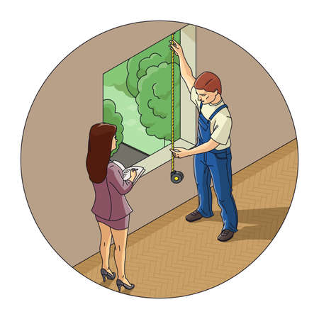 premises: Man and woman measure window