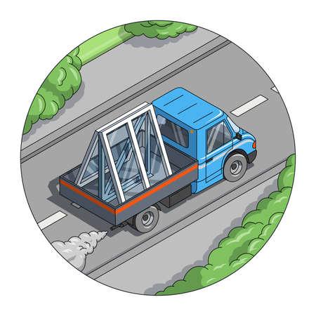 carting: Ventana carry coches Vectores