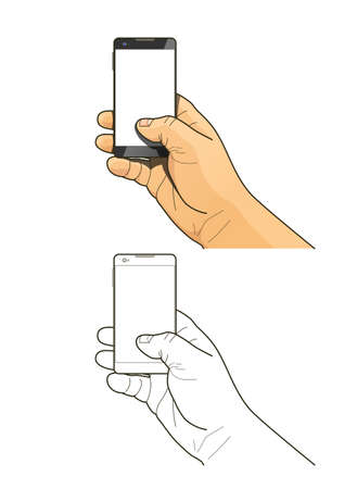 hand outline: Phone in hand Illustration