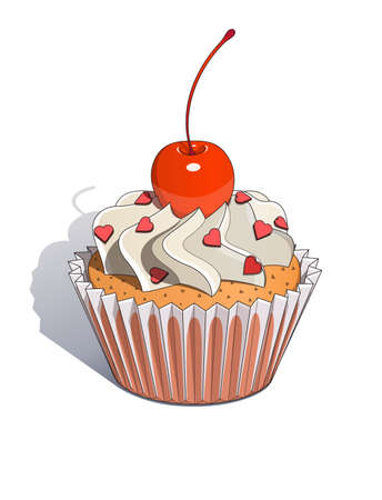 Cake with cherry illustration. Isolated on white background Vector