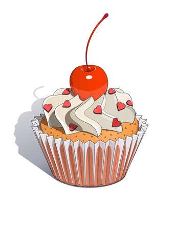 ingestion: Cake with cherry illustration. Isolated on white background Illustration
