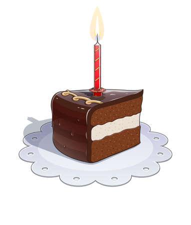 porcion de pastel: Pedazo de pastel de chocolate con velas. Ilustración vectorial Eps10. Aislado en el fondo blanco