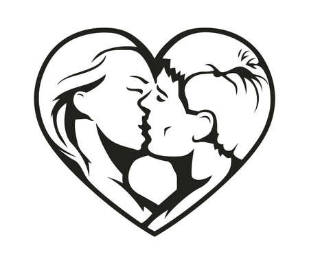 lovers kissing: �ouple kissing in the heart symbol. Eps8 vector illustration. Isolated on white background Illustration