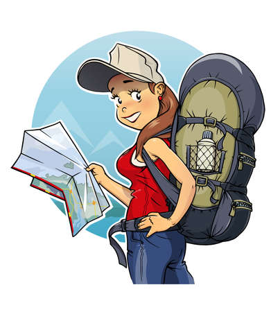 people hiking: Tourist girl with rucksack and map.
