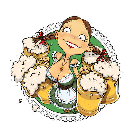 Oktoberfest girl with glass of beer. Vectores