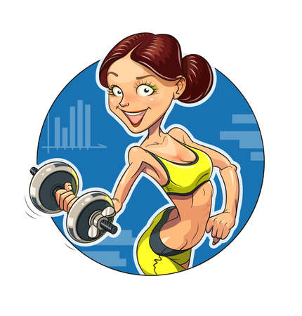 Fitness. Sporting girl with dumbbells.  Illustration
