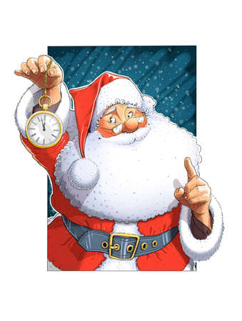 oldman: Santa Claus with clock. Isolated on white background