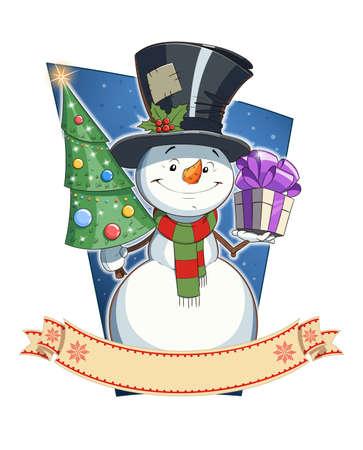 unexpectedness: Mu�eco de nieve con el regalo y abeto. Car�cter de Navidad. Ilustraci�n vectorial Eps10. Aislado en el fondo blanco