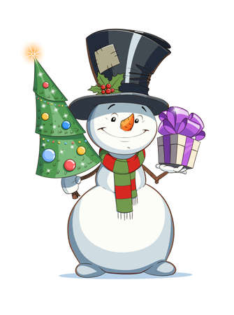 Snowman with gift and firtree. Christmas character. Eps10 vector illustration. Isolated on white background Illustration