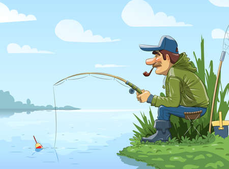 Fisherman with rod fishing on river Vector