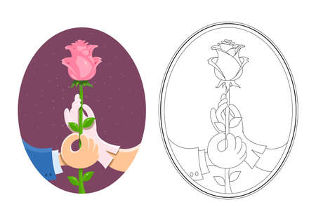 suitor: Couple of hands hold rose. Eps10 vector illustration. Isolated on white background