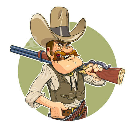 Cowboy with gun. Eps10 vector illustration. Isolated on white background 일러스트