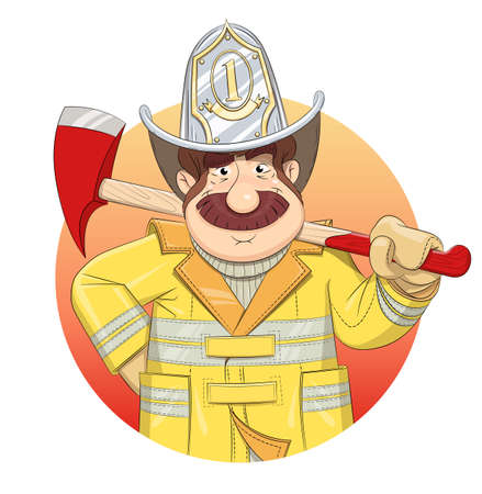 conflagration: Fireman in uniform with ax. Eps10 vector illustration. Isolated on white background Illustration