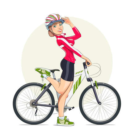 Beautiful girl in helmet with mountain bike. Sport. Eps10 vector illustration. Isolated on white background Illusztráció