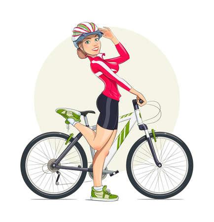 bicicleta vector: Muchacha hermosa en casco con la bicicleta de montaña. Sport. Ilustración vectorial Eps10. Aislado en el fondo blanco Vectores