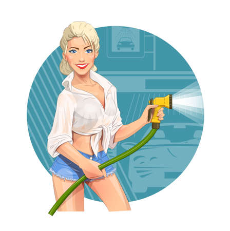 Girl on car wash
