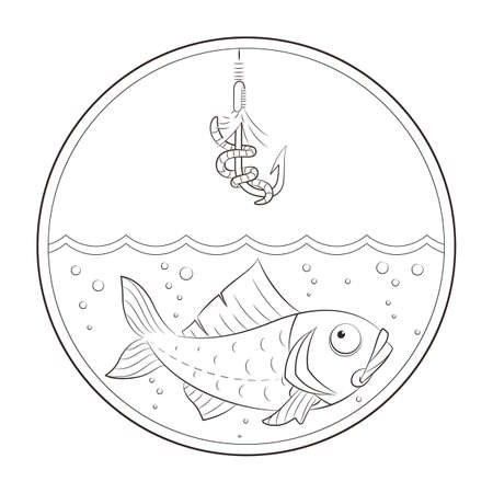 fishhook: Fishing. Fish in water and fishhook. Vector illustration. Isolated on white background