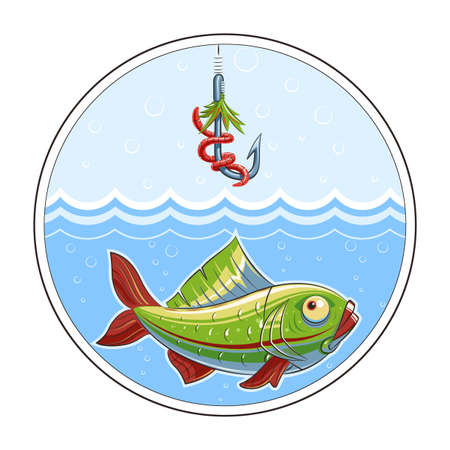 fishhook: Fishing. Fish in water and fishhook.  Illustration