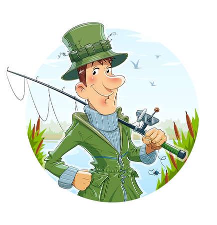 Fisherman with rod. Fishing. Eps10 vector illustration.