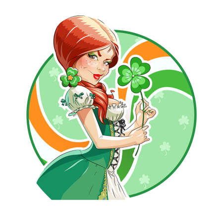 red haired woman: Beautiful girl with shamrock for saint Patricks day.  Isolated on white background