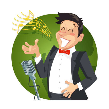 sounding: Singer sing with microphone. vector illustration. Isolated on white background