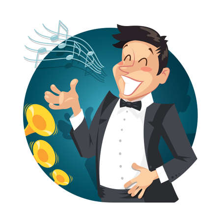 Singer sing with orchestra. vector illustration. Isolated on white background Illustration