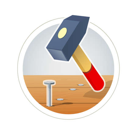 Hammer and nail. vector illustration. Isolated on white background Vettoriali