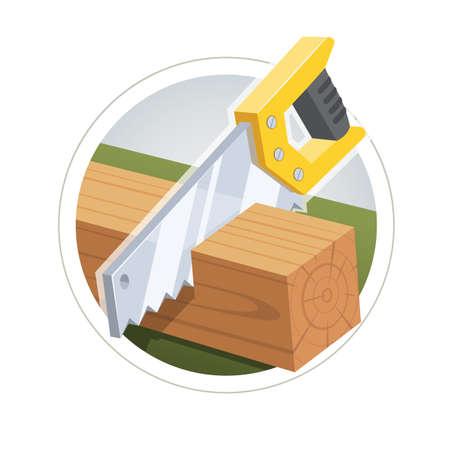 Hacksaw cut board. vector illustration.  Illustration