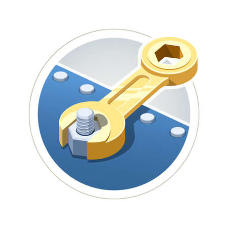 Wrench screw nut. vector illustration. Isolated on white background