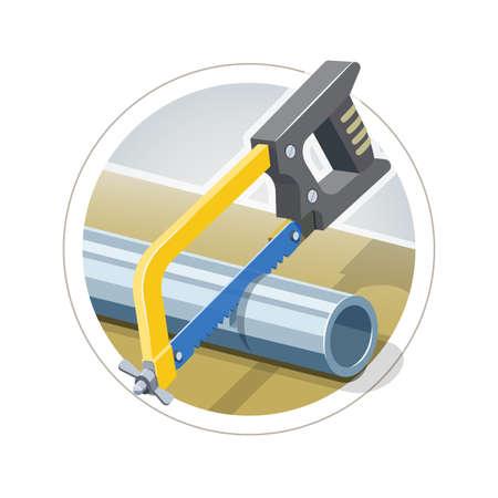 Hacksaw cut metallic pipe