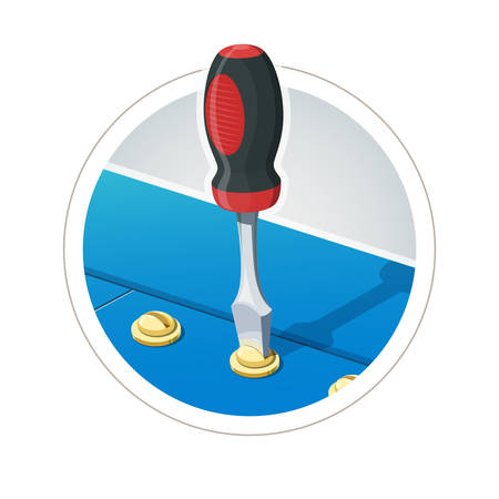 Screwdriver with screw. Eps10 vector illustration. Isolated on white background