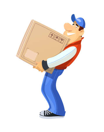 loader: Loader with box. Loader with box. Delivery service. Eps10 vector illustration. Isolated on white background Illustration