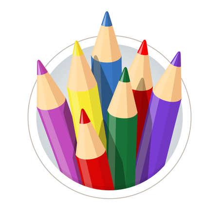 lapices: Conjunto de lápices de colores para dibujar. Ilustración vectorial Eps10. Aislado en el fondo blanco
