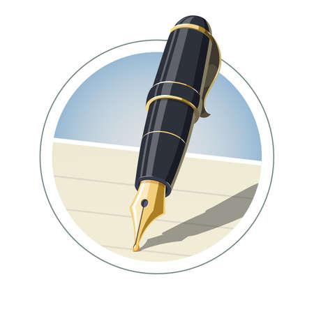 Ink pen. Eps10 vector illustration. Isolated on white background