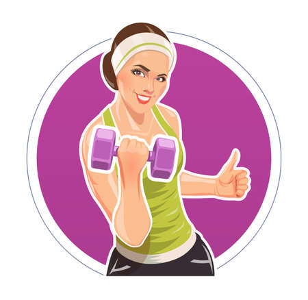damsel: Girl with dumbbells for fitness.  vector illustration. Isolated on white background