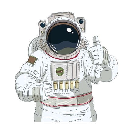 manly: Astronaut gesture okay. Eps10 vector illustration. Isolated on white background