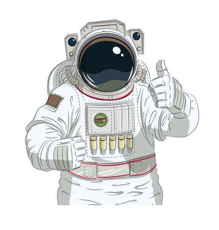 astronaut: Astronaut gesture okay. Eps10 vector illustration. Isolated on white background