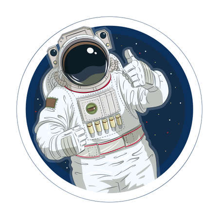 okay: Astronaut gesture okay. Eps10 vector illustration. Isolated on white background