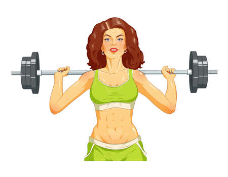 Girl doing fitness exercise with barbelll.  vector illustration. Isolated on white background Illustration