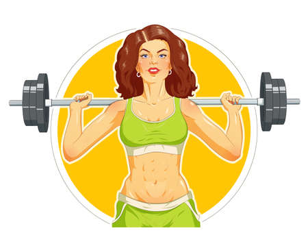 sexual activity: Girl doing fitness exercise with barbelll.  vector illustration. Isolated on white background Illustration