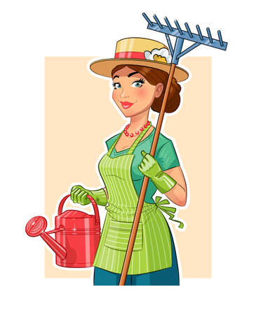 Gardener girl with rake and watering can. Eps10 vector illustration. Isolated on white background Vettoriali