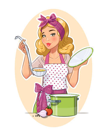 Housewife girl cooking food. Eps10 vector illustration. Isolated on white background Vettoriali