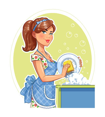 clean off: Beautiful girl washing plate. Eps10 vector illustration. Isolated on white background