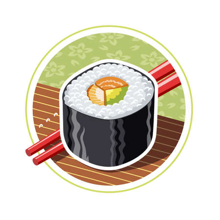 cooked rice: Sushi. Japanese food.