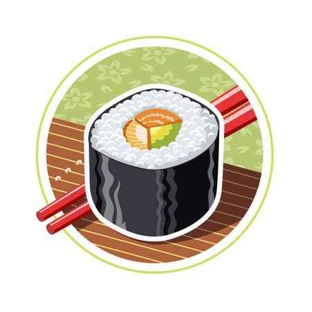 reis gekocht: Sushi. Japanisches Essen.