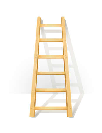 Wooden step ladders stand near white wall.